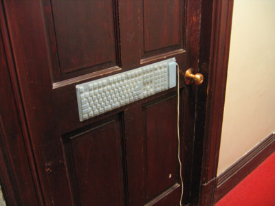 keyboard on the front of the door